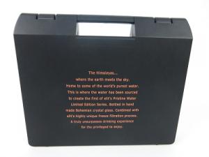 Kunstsoffkoffer schwarz mit Siebdruck