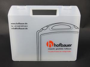 Kunststoffkoffer transluzent mit Siebdruck zweifarbig